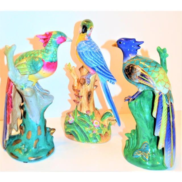 1970s (Final Markdown) 1970s Vintage Majolica Parakeet & Pheonix Figurines - Set of 3 For Sale - Image 5 of 12