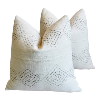 "Boho Chic Malian Gray & White Feather/Down Pillows 22"" Square - Pair For Sale"