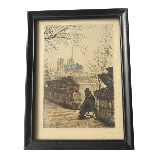 "Antique ""Bouquiniste on the Seine"" Paris Engraving For Sale"