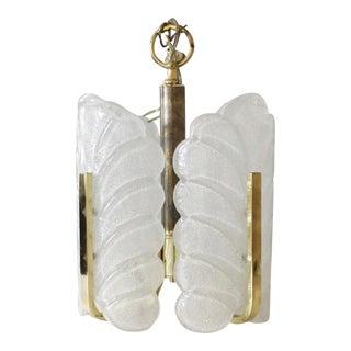 Barovier & Toso Murano Glass Pendant Chandelier Light Fixture Brass Mid Century Art Deco