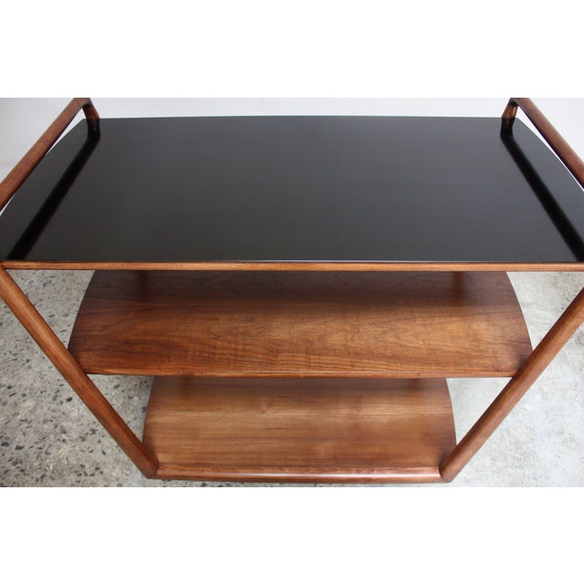 Walnut American Modern Walnut Three-Tier Rolling Bar / Tea Cart With Ebonized Surface For Sale - Image 7 of 13