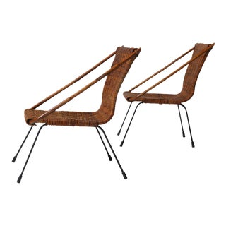 Rattan chairs on iron frames from mid-century france - a pair For Sale