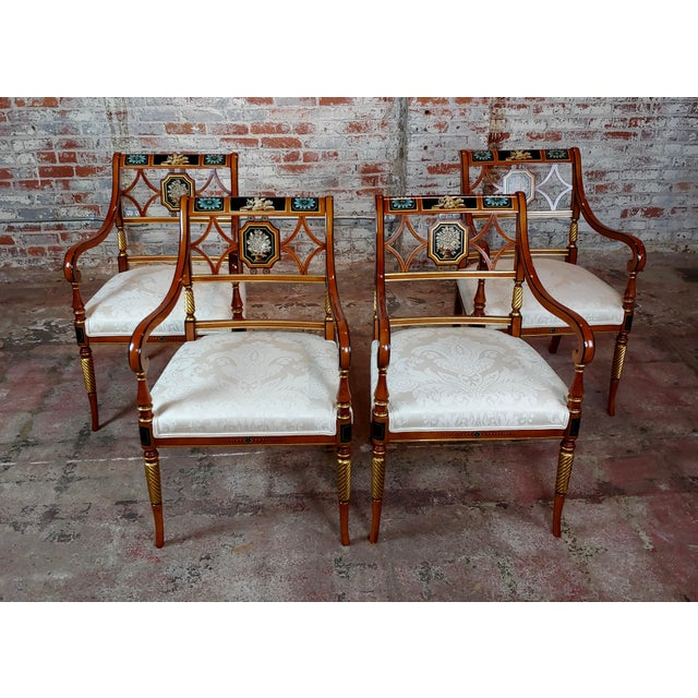 1990s Vintage Baker Painted Regency Arm Chairs -Set of 4 For Sale - Image 12 of 12