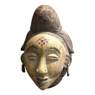 Asian Woman Wood Art Face Sculpture