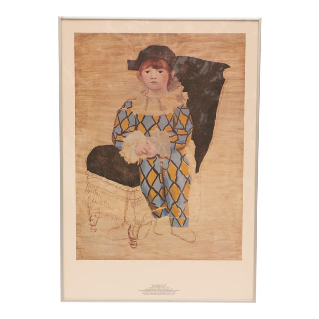 """Pablo Picasso - """"Paul as Harlequin"""" Framed Lithograph Print For Sale"""