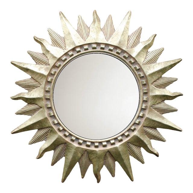 Vintage Golden Gilt Convex Sunburst Mirror For Sale