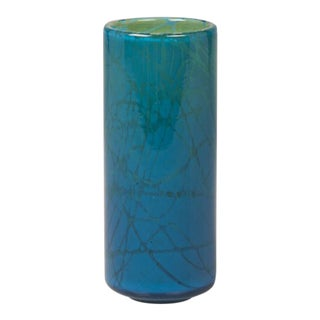 1970s Hand Blown Turquoise Mdina Malta Glass Cylinder Vase For Sale