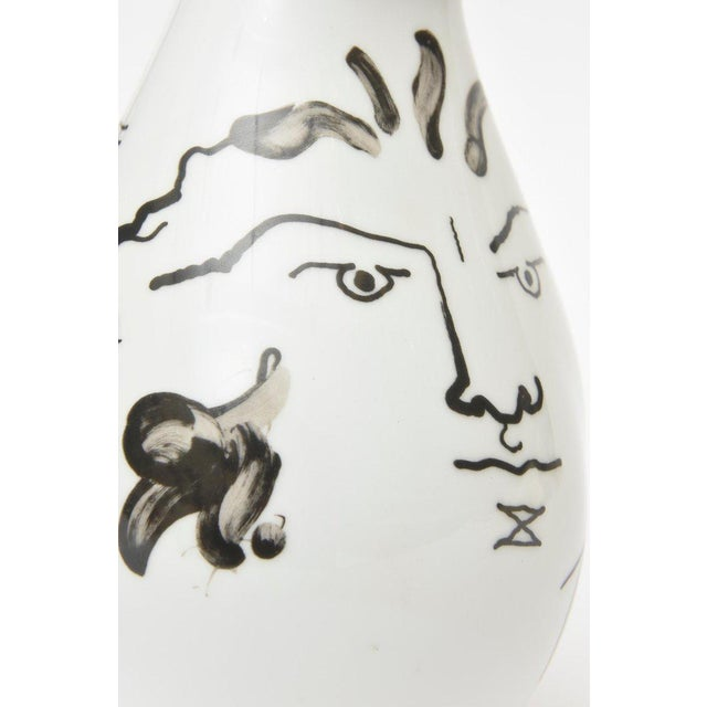 1970s Jean Cocteau for Rosenthal Tetes Face Porcelain Hand Painted Vase / Vessel For Sale - Image 5 of 11