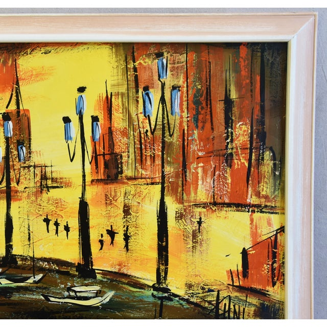 Hollywood Midcentury European Cityscape Oil Painting For Sale - Image 4 of 7