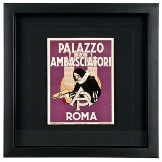 Framed Vintage Palazzo Hotel Luggage Label