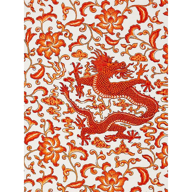 Chinoiserie Scalamandre Chi'En Dragon Linen Print, Persimmon Fabric For Sale - Image 3 of 3
