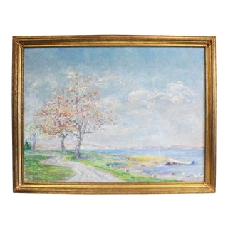 "1930s Vintage ""Old Shore Road"" Coastal Connecticut Painting For Sale"