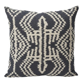 Contemporary Schumacher Double-Sided Pillow in Asaka Ikat Linen Print For Sale