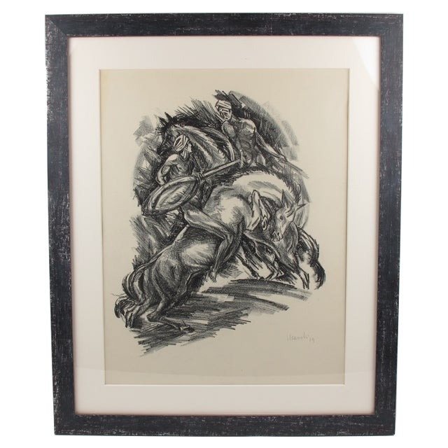 Gray Adolf Uzarski Charcoal Drawing Lithograph For Sale - Image 8 of 11