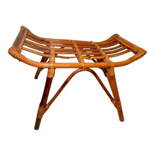 Late 20th Century Vintage Rattan Bamboo Cane Bench For Sale