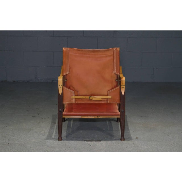 Mid-Century Modern Red Leather Safari Chair by Kaare Klint for Rud Rasmussen For Sale - Image 3 of 8