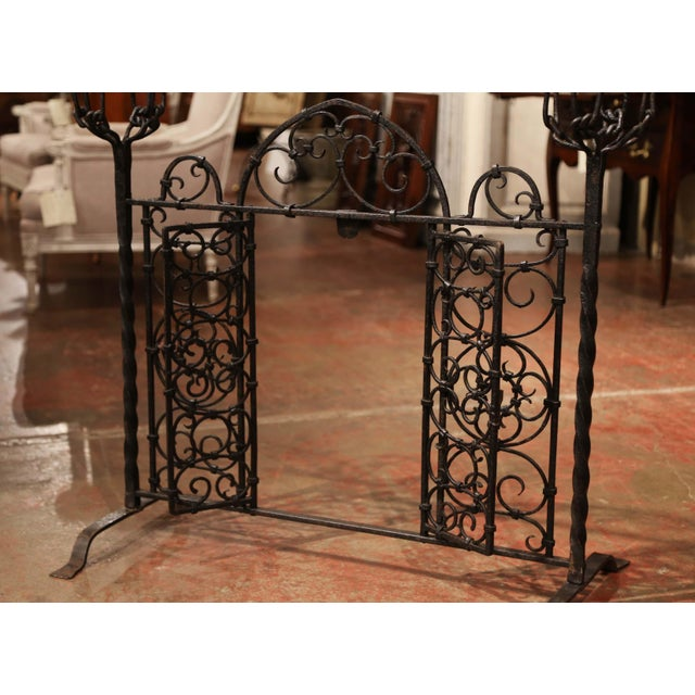 19th Century French Forged Iron Double Door Fireplace Screen With Bowl Holders For Sale - Image 4 of 10