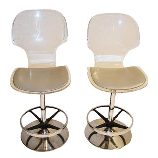 1970s Vintage Lucite and Chrome Stools - a Pair For Sale