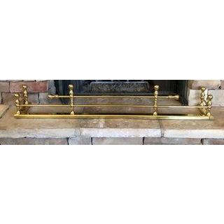 Antique Brass Fireplace Fender For Sale