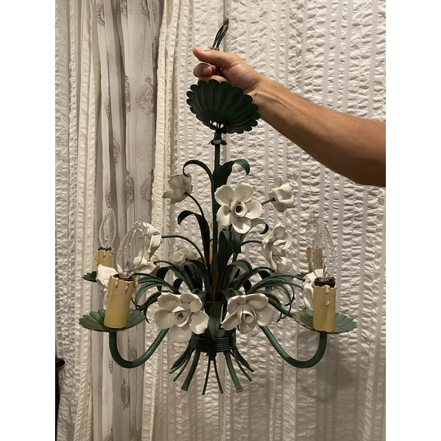 Vintage Metal Floral Chandelier With Porcelain Flower Details by Underwriters Laboratories For Sale - Image 10 of 10