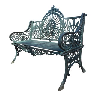Vintage Sculpted Cast Iron Bench For Sale