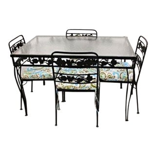 Black Steel Patio Dining Table & Chairs - Set of 5 For Sale