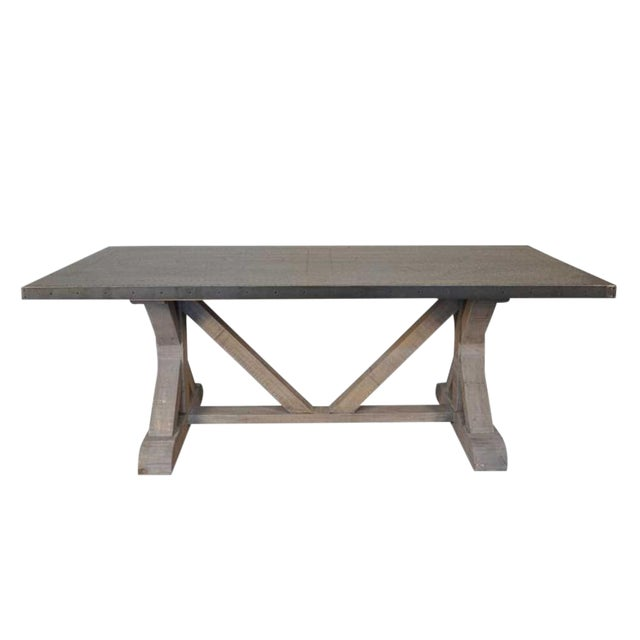 Noir X Base Table With Zinc Top Dining Table - Image 1 of 4
