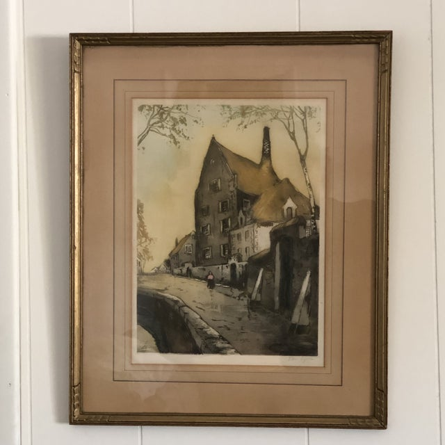 1950s Vintage Ink and Watercolor Painting For Sale In Los Angeles - Image 6 of 6