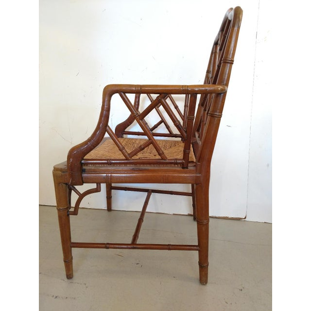Chippendale Vintage Chippendale Faux Bamboo Armchair For Sale - Image 3 of 9