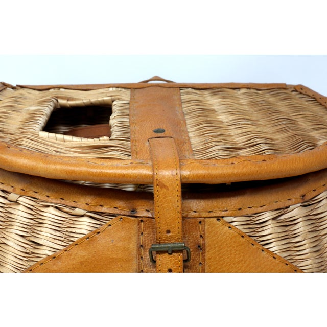 Vintage Leather and Wicker Fly Fishing Basket For Sale - Image 4 of 12