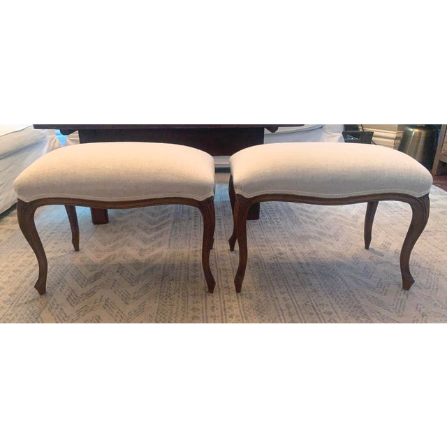 French Antique Louis XV Style Walnut Benches Footstools Upholstered in Off-White Linen Fabric - a Pair For Sale - Image 3 of 13