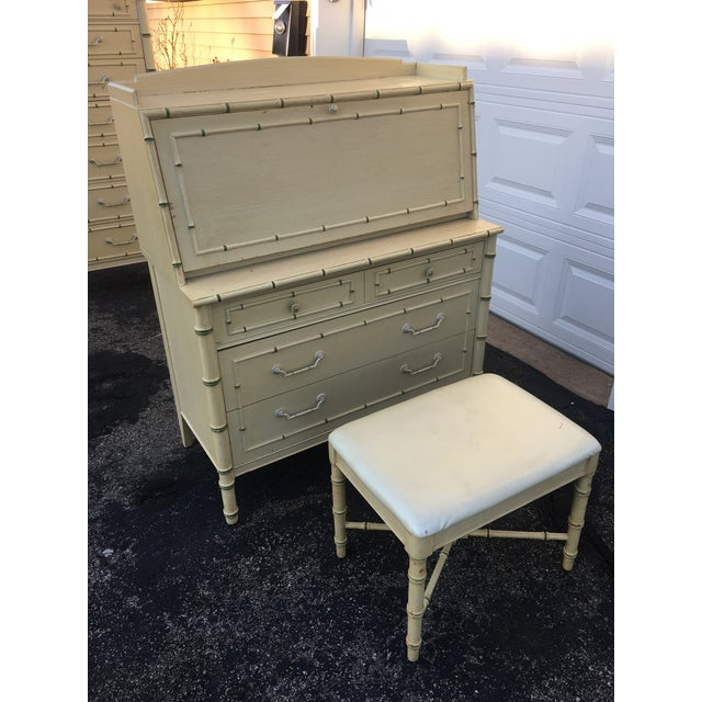 Boho Chic 1970's Hollywood Regency Thomasville Faux Bamboo Secretary Desk and Bench - 2 Pieces For Sale - Image 3 of 13