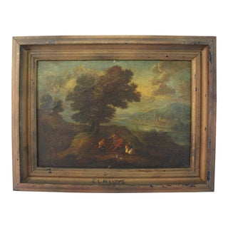 17th Century Antique European Landscape Oil Painting on Canvas by Claude Gellee For Sale