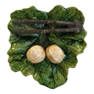 Majolica Green Leaf Plate with Nutcracker and Walnuts For Sale
