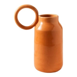 Contemporary Handmade Ceramic Olivia Round Handle Pitcher - Orange For Sale
