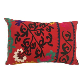 Large Vintage Colorful Suzani Embroidery Throw Pillow From Uzbekistan For Sale