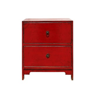 Chinese Oriental Distressed Red Two Drawers Small Cabinet