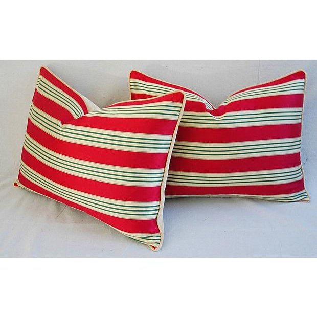 Red, Cream & Green French Stripe Ticking Velvet Feather/Down Pillows - Pair For Sale - Image 5 of 6