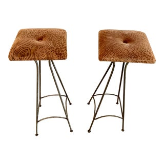 Vintage Modern Pair of Iron Bar Stools For Sale