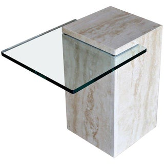 1970's Modernist Travertine & Glass Occasional Table For Sale