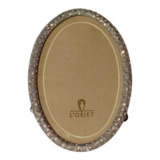Sparkling Crystal Pavé Silver Oval Picture Frame For Sale