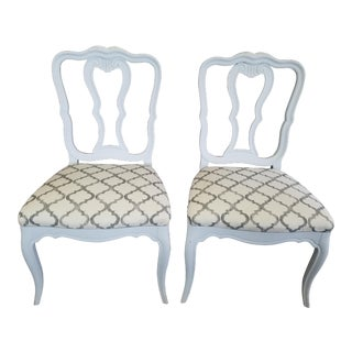 Gray Provincial Side Chairs - A Pair