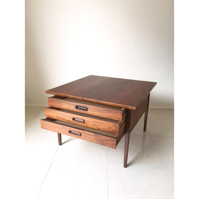 Jens Risom Style Walnut Three Drawer Table - Image 4 of 7