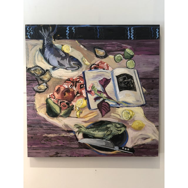 """Modern Rachel Loyacono Original Painting """"Dinner Party"""" For Sale - Image 3 of 3"""