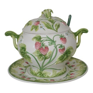 Vintage Italian Pottery Strawberry Design Soup Tureen With Ladle & Underplate - 5 Pc. Set For Sale