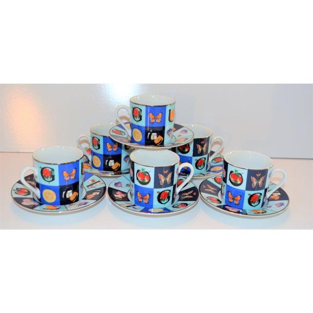 Gucci Vintage Mid Century Gucci Guccissimo Porcelain Espresso Cup Saucer Set- 12 Pieces For Sale - Image 4 of 13