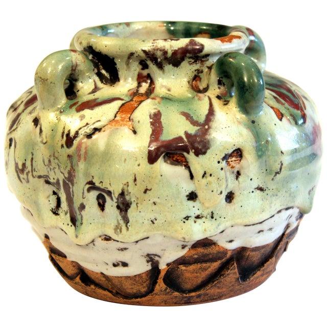 Awaji Pottery Manipulated Jar Gloppy Drip Glaze Zen Tea Ceremony Vase For Sale - Image 12 of 12
