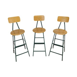 Pollard Bros Industrial Style Set 3 Steel & Wood Bar Stools For Sale