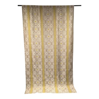 White & Chartreuse Geometric Accented Linen Curtain Panel