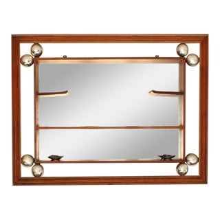 Mid Century Mirror Shadow Box With Shelves For Sale